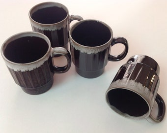 1970s Stackable Brown Drip Mugs, Made In Japan, Set of 4