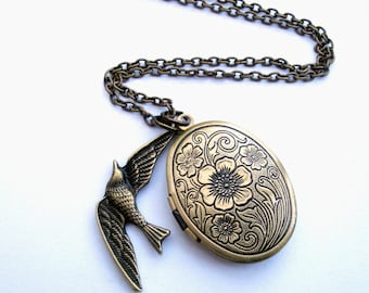 Locket necklace bird charm in vintage inspired antique bronze swallow