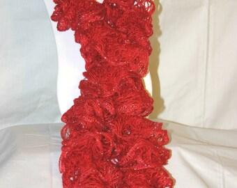 Red Crochet Ruffle Scarf