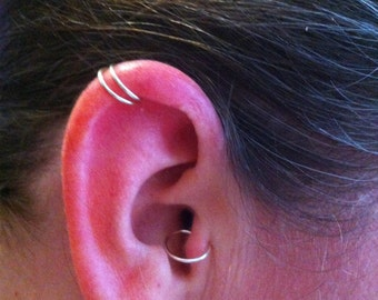 Nose Ring, Ear cuff, Tragus Cuff, Nose Cuff, non-piercing 1/10 Silver filled