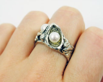 Pearls sterling silver ring. Silver pearl ring. (45994). birthday gift for her mom girlfriend, pearl ring, pearl jewelry, silver pearl ring