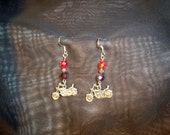 Red Czech Crystal with Motorcycle Earrings