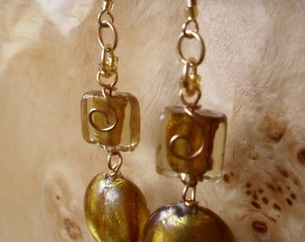 Yellow and Gold Spiraled Wire Earrings