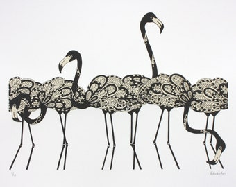 Flamingo print, black flamingos, Limited edition screen print, 35cm x 50cm print, flamingo art