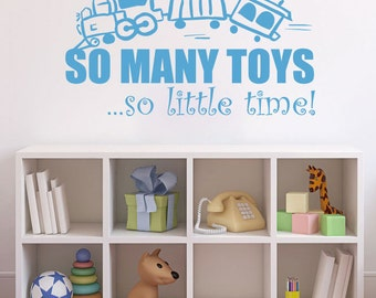 Playroom Quote Decal - So Many Toys So Little Time Train Wall Decal - Nursery Wall Quote for Baby Girl or Baby Boy Wall Art 12Hx22W CQ009