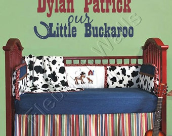 Baby Boy Nursery Wall Decal - Personalized Nursery Name Decal - Boy Bedroom Wall Decal - Horseshoe Western Cowboy Baby Boy Wall Decal BN025