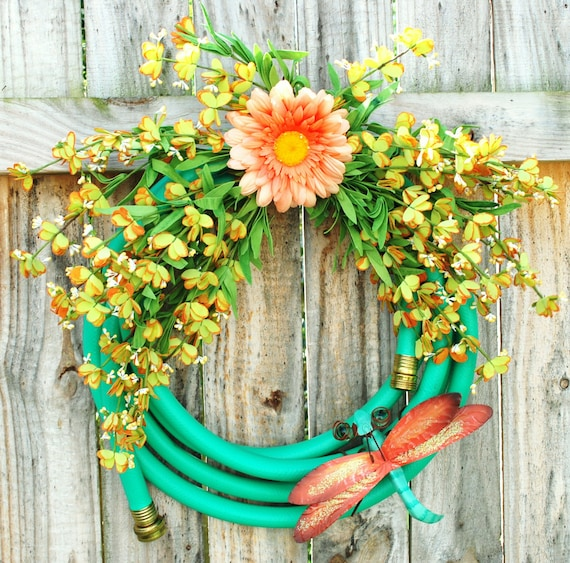 Water Hose Wreath Dragonfly Garden Hose Wreath