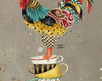 Art Print. Rooster Mardi 2