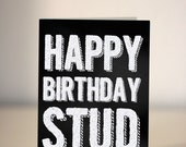 SALE - Happy Birthday Stud (Muffin) - chalkboard / card for boyfriend / husband