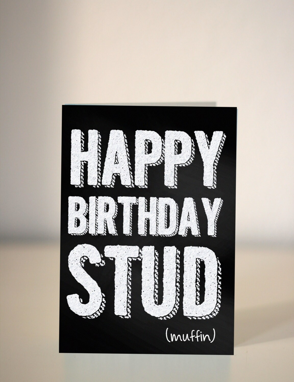 sale happy birthday stud muffin chalkboard card for. Black Bedroom Furniture Sets. Home Design Ideas