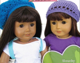 Pixie Faire Stacy and Stella Beanie & Beret Crochet Doll Clothes Pattern for 18 inch American Girl Dolls - PDF