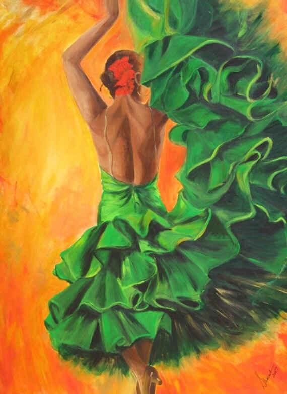 Flamenco Dancer Art Print On Paper 12x18 By Sherisartstudio