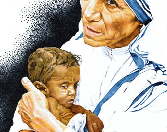 Mother Theresa and baby print