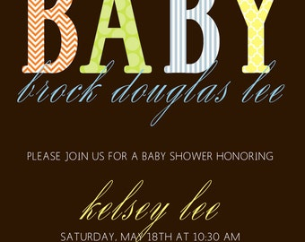 Modern Pattern Baby Shower Invitation - Digital file
