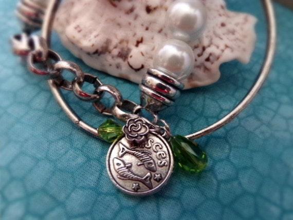 Pisces Bracelet - Zodiac Antique Silver Bracelets - Luxe Girls Jewelry - Pisces Fish Bracelet Set with Jewels