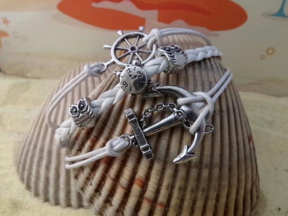 Anchor bracelet - Ships Wheel Bracelet - Infinity Karma -- Anchor Rudder Bracelet -- Ships Wheel, Owls, Pandora's Clock