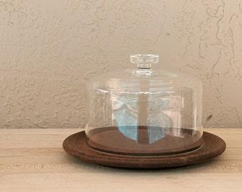 Danish Modern Teak Cake Tray with Glass Dome Top by Kay Bojesen