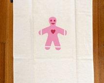 Scandinavian Pink Gingerbread man - hand screen printed Hemp tea-towel - Pepparkaksgubbe