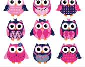 Girly Navy Pink Owls Digital Clipart - Preppy - Clip Art Commercial Use