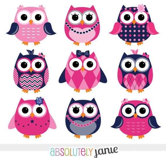 Girly Navy Pink Owls Digital Clipart - Preppy - Clip Art Commercial ...