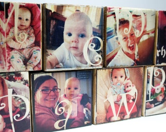Set of PHOTO LETTER BLOCKS: 3x3 Personalized Photo Block, Photo Gift for Grandparents, Name Blocks, Grandchildren, Photos on Wood, Birthdays