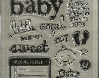 """Sandylion Sticker Designs:  """"BABY"""" Clear Stamps by Kelly Panacci  Brand New"""