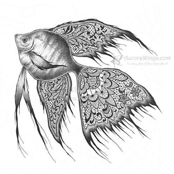 Angelfish black and white drawing - photo#1