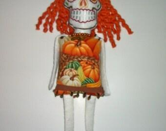 Dia de los Muertos Day of the Dead Cloth Art Doll CALABAZA