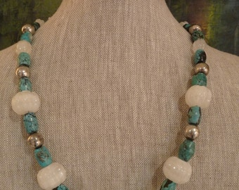Mexican Sterling Silver, Turquoise and Carved White Agate Necklace