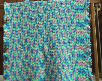Neon Baby Blanket Lightweight Multi-Coloured Baby Afghan Crochet Baby Shower Gift New Baby Gift