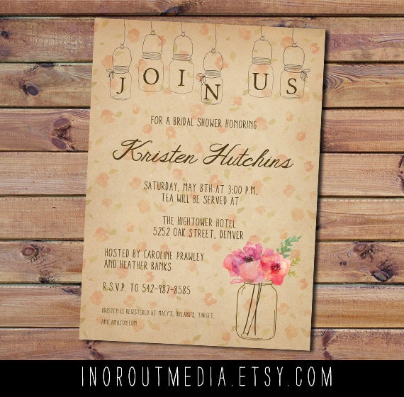 Rustic Bridal Shower Invite, bridal shower invitation  - The Hightower - Mason Jars, watercolor, flowers, floral, country, invites, vintage