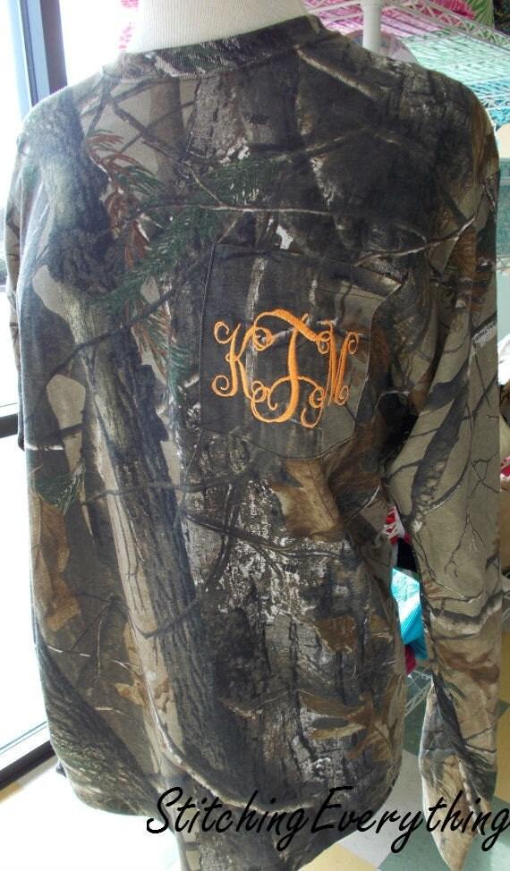 items similar to camouflage monogram short or long sleeve pocket tee shirt on etsy
