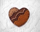 Embroidered heart brooch, brown heart, felt broach, pin