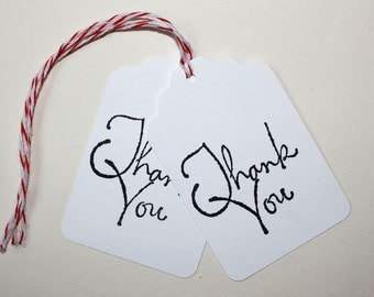Thank You Tags, Set of 10 Tags, Wedding, Bridal Shower, Birthday, Favor Tags, Thank You, Party Tags