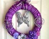 Purple Butterfly Yarn Wreath