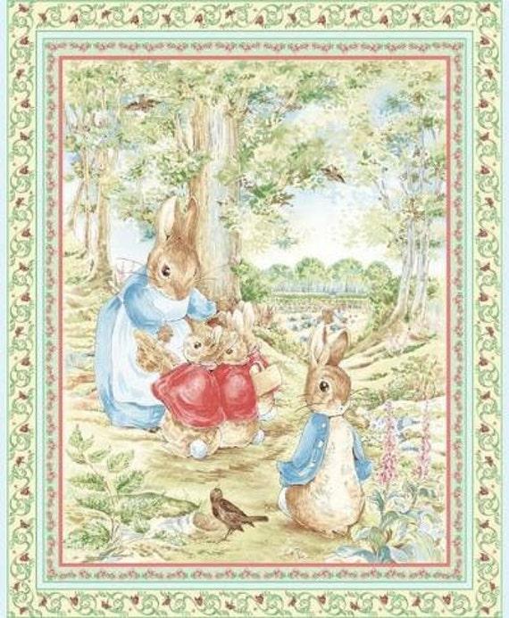 Beatrix Potter Fabric Quilt Panel Peter Rabbit 36 X