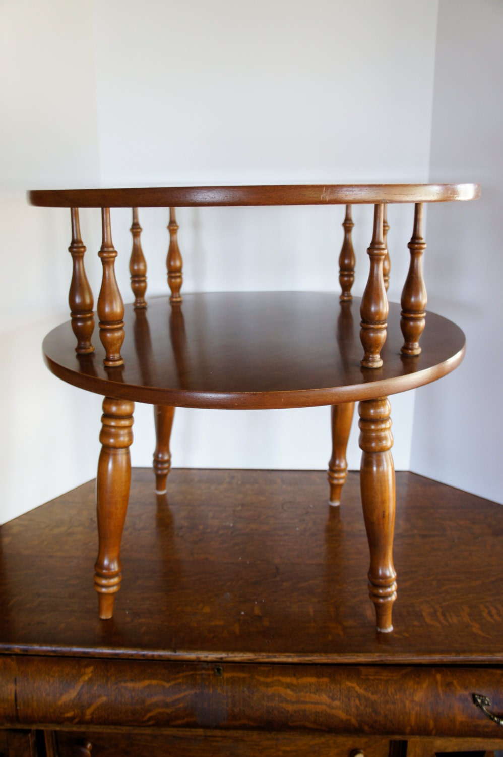 Vintage round wood end table tier colonial drum