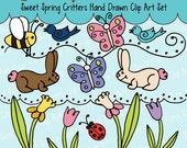 Bunny, bunnies, Ladybugs, Butterfly, Bird, Tulips, Daffodils Clip Art, Digital graphics, clipart, doodle, hand drawn