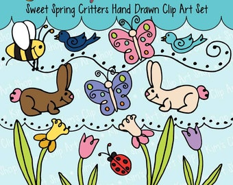 Bunny, bunnies, Ladybugs, Butterfly, Bird, Tulips, Daffodils Clip Art, Digital graphics, clipart, doodle, hand drawn