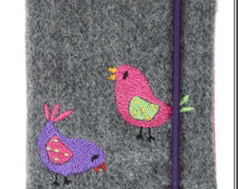 Birdie - small notebook, diary, grey