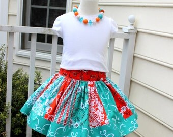 girls skirt Michael Miller summer skirt toddler skirt birthday girls outfit dress set twirly skirt drop waist coral aqua turquoise orange