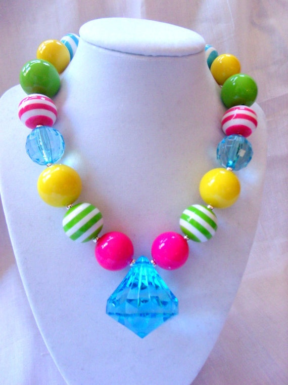 items similar to girls chunky necklace girls bubblegum