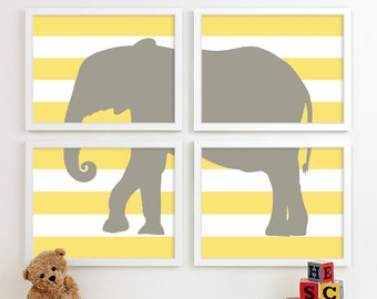 Kids Art for Children, Baby Nursery Decor, Jungle Nursery Art Print, Safari Animal Nursery Wall Art Elephant Kids Decor