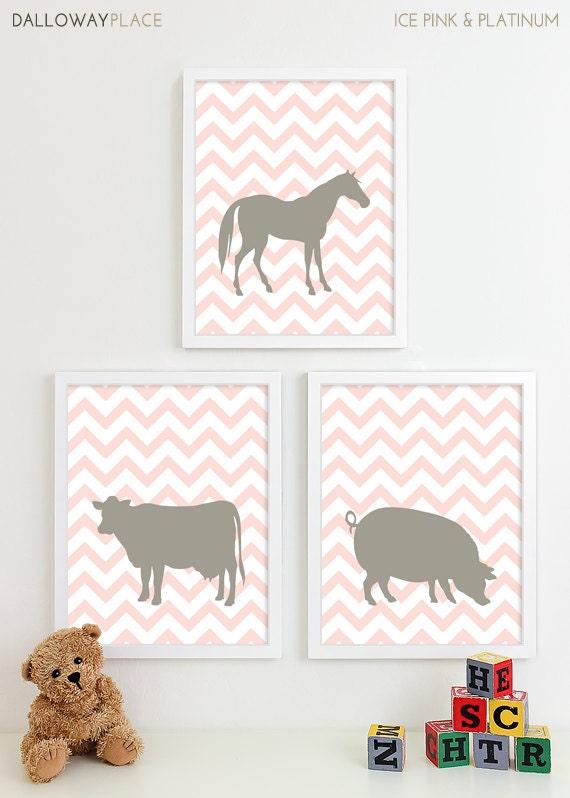 Cowboy Wall Decor Nursery : Farm animal nursery art equestrian barn animals cow pig horse