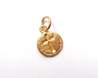 Cross Charm, Gold Charm, Gold Jewelry, Charm Bracelet, Cross, Religious Charm, Religious Jewelry, Brittanium, Pewter Charm, Pewter