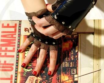 Rock' n'roll fingerless latex Gloves