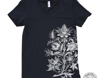 Women's FLORAL ORNAMENT American Apparel Poly-Cotton Tee