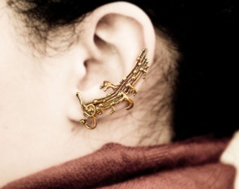 Sound of Music Ear Cuff - Musical Notes Ear Wrap - Music Earring Treble Clef Staff