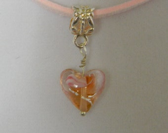 Lampwork Sunrise Pink Heart Charm 17in Pink Leather Cord Necklace (N85)
