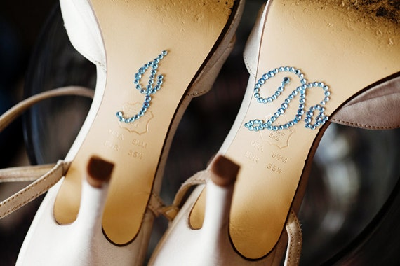Blue Glitter I Do Shoe Stickers